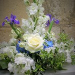 Wedding Flower Arrangement Blue and Cream