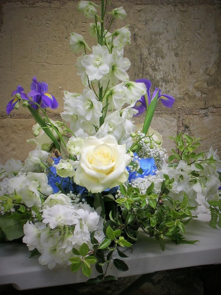 Wedding Flower Arrangement Blue and Cream