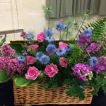 Wedding Pinks and Blues Flower Arrangement Basket